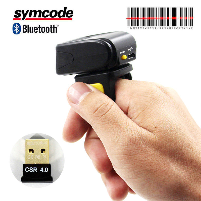 Finger Style Wireless Ring Scanner / 1D Barcode Scanner Advanced Decoding Algorithms